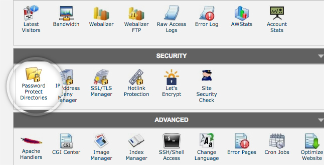 cpanel's password protected directories