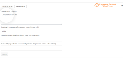 Password Protect WordPress Pro:  Add New Passwords In Popup
