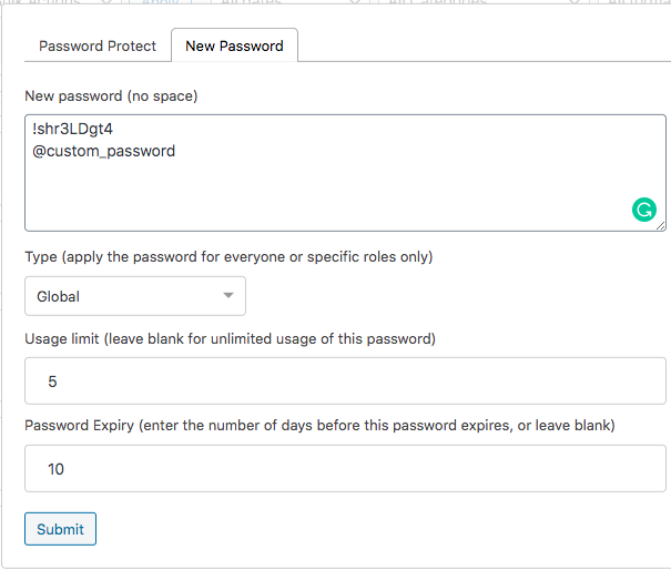 PPWP Pro works: create new passwords