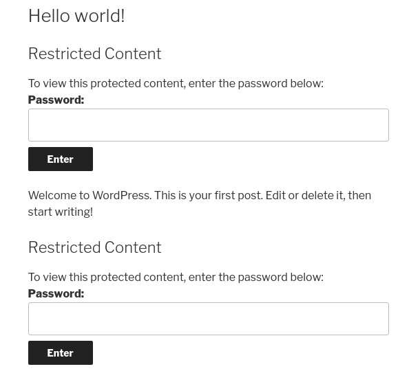 multiple password forms