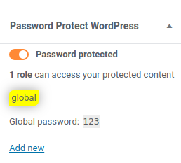 Password protect content with Pro version