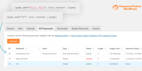 Password Protect WordPress Pro: Shortcode Global Passwords