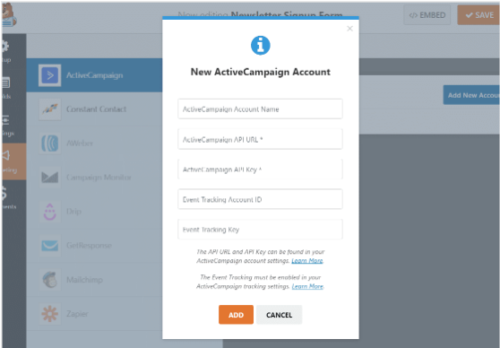 Integrate High-Converting ActiveCampaign Forms with WordPress add new account