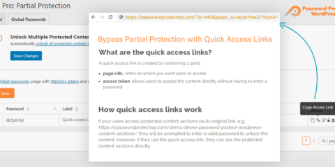 Password Protect WordPress Pro: Partial Protection Quick Access Links