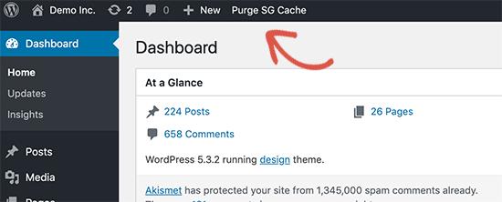 Clearing Cache WordPress purge sg cache