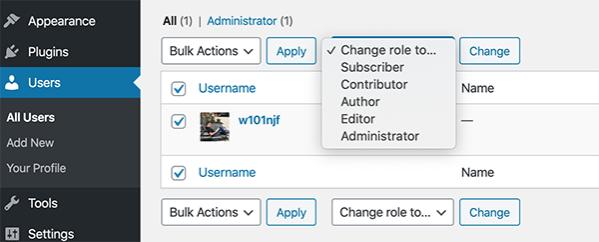 change WordPress user roles