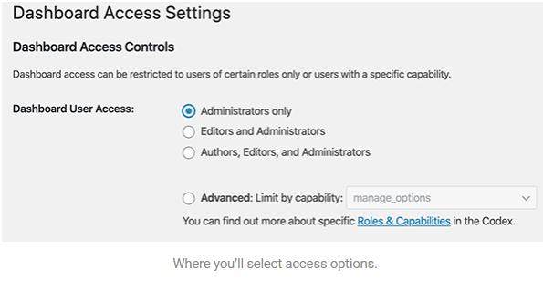 Dashboard access settings