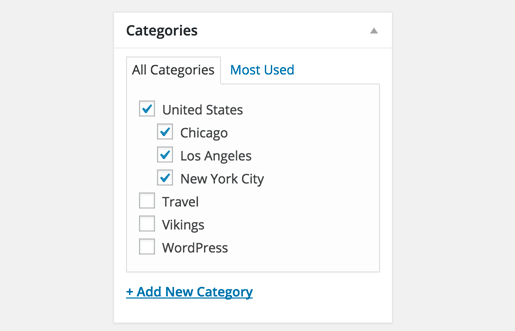 add parent categories in WordPress