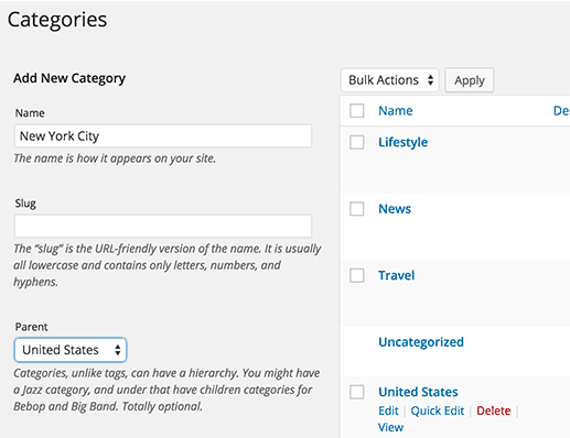 select parent category in WordPress