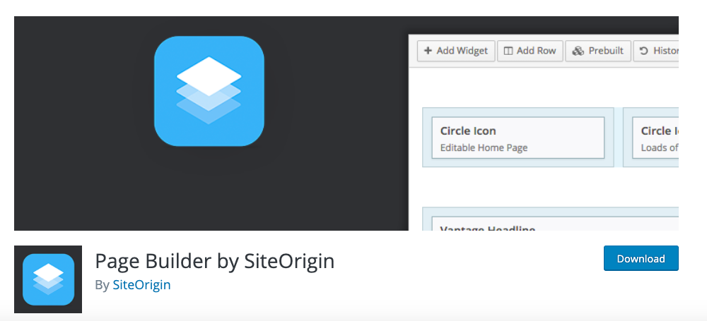siteorigin best free WordPress page builder plugin