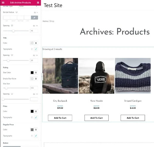 Edit archive products