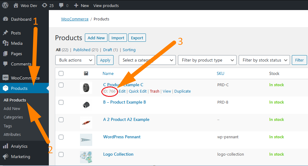 Get individual WooCommerce product ID