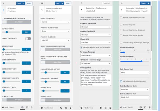 WordPress Customizer's multiple customizer options