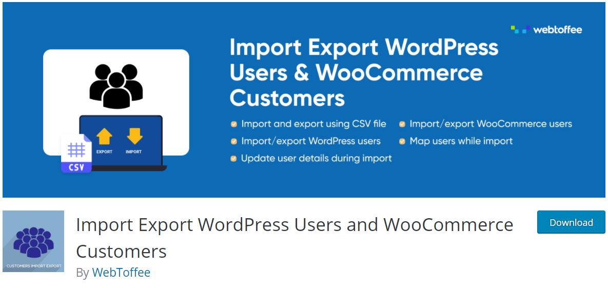 Import export wordpress users and woocommerce customers