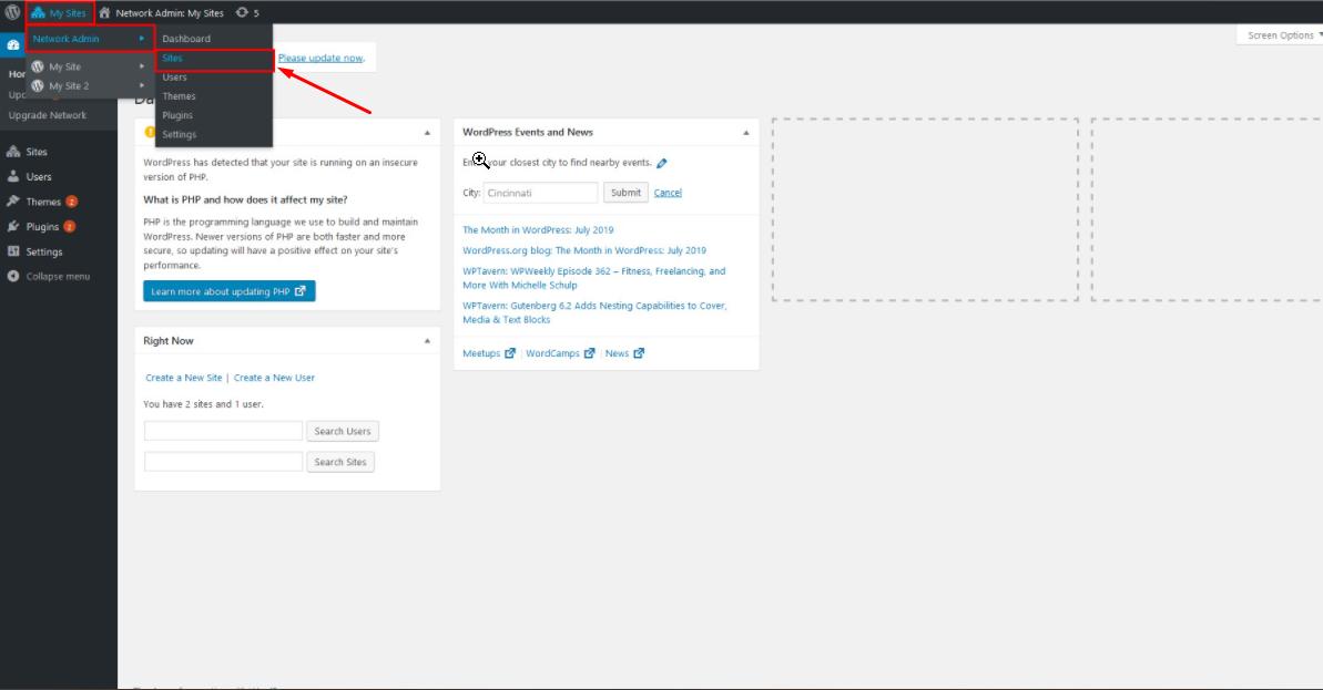 Add new site to WordPress multiple dashboard