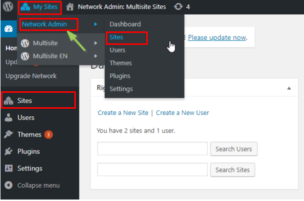 """choose """"Network Admin: and """"Sites"""""""