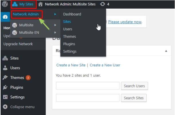set up WordPress multisite network admin