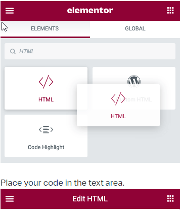 how to edit HTML in Elementor HTML widget