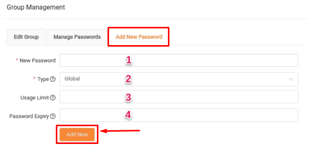 add new password