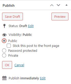 edit WordPress Visibility options