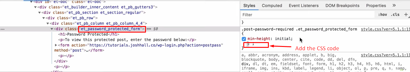 the et_password_protect_form section