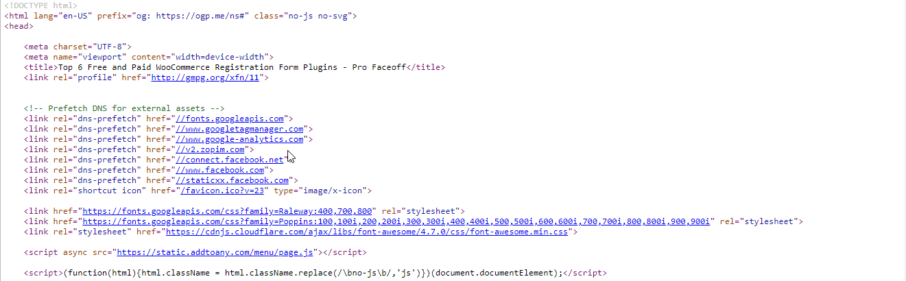 HTML code of a page