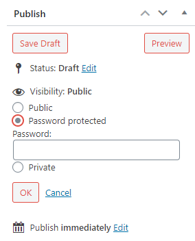 select password protected option