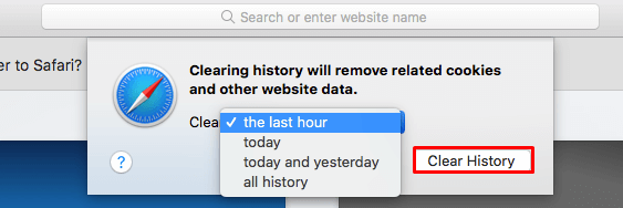 clear history based on time range in Safari
