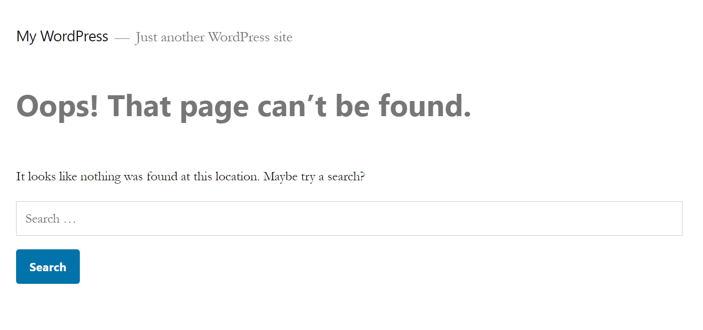 Default WordPress 404 page