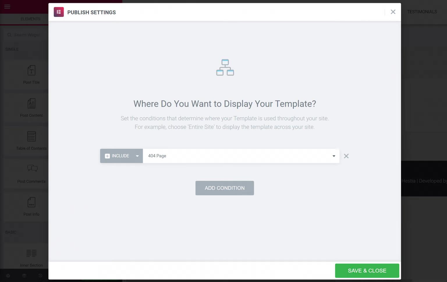 Publish custom template in Elementor