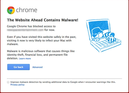 Google blacklist for malware warning