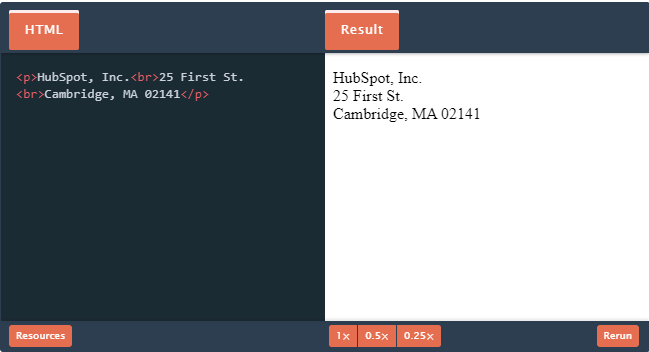 insert spaces in html using break tag
