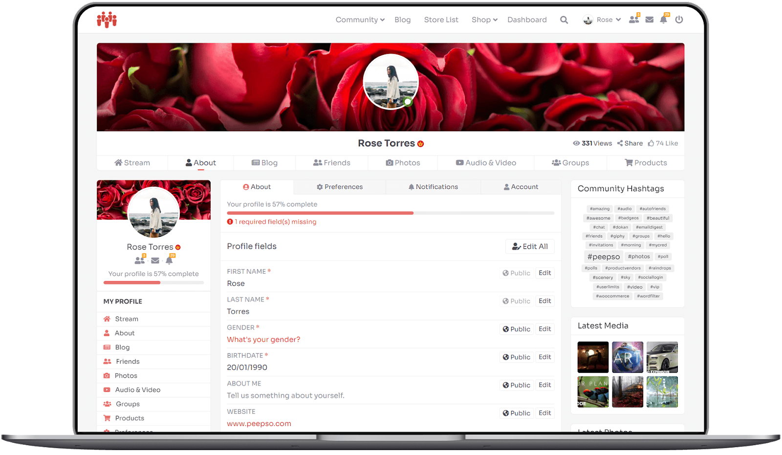 Peepso's sample user profile page