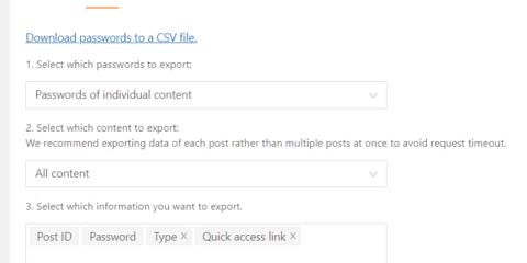 Password Protect WordPress Pro: Export Quick Access Links along with Passwords