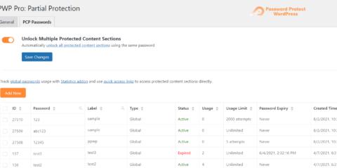 Password Protect WordPress Pro: Shortcode Global Passwords