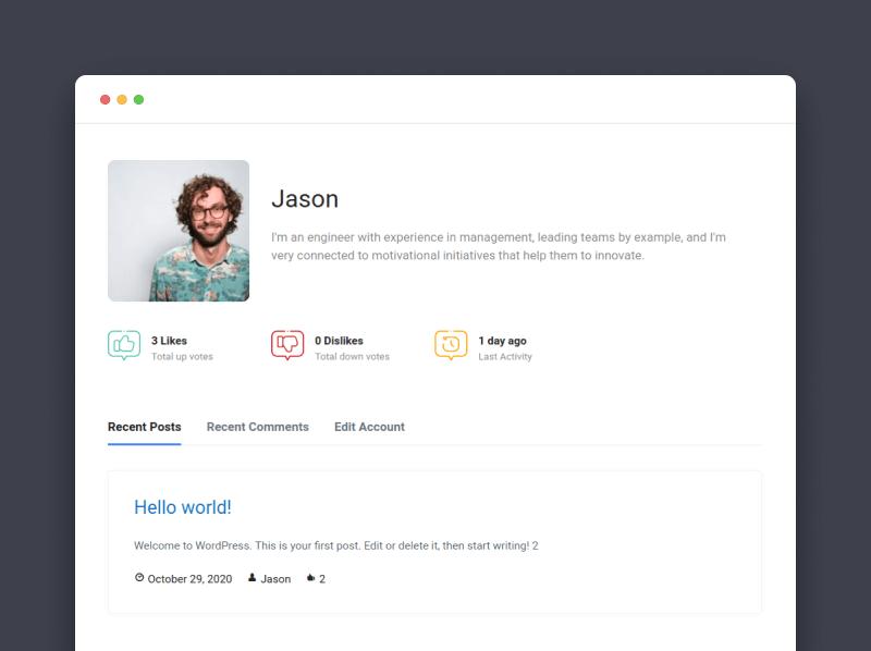 Sample user profile page