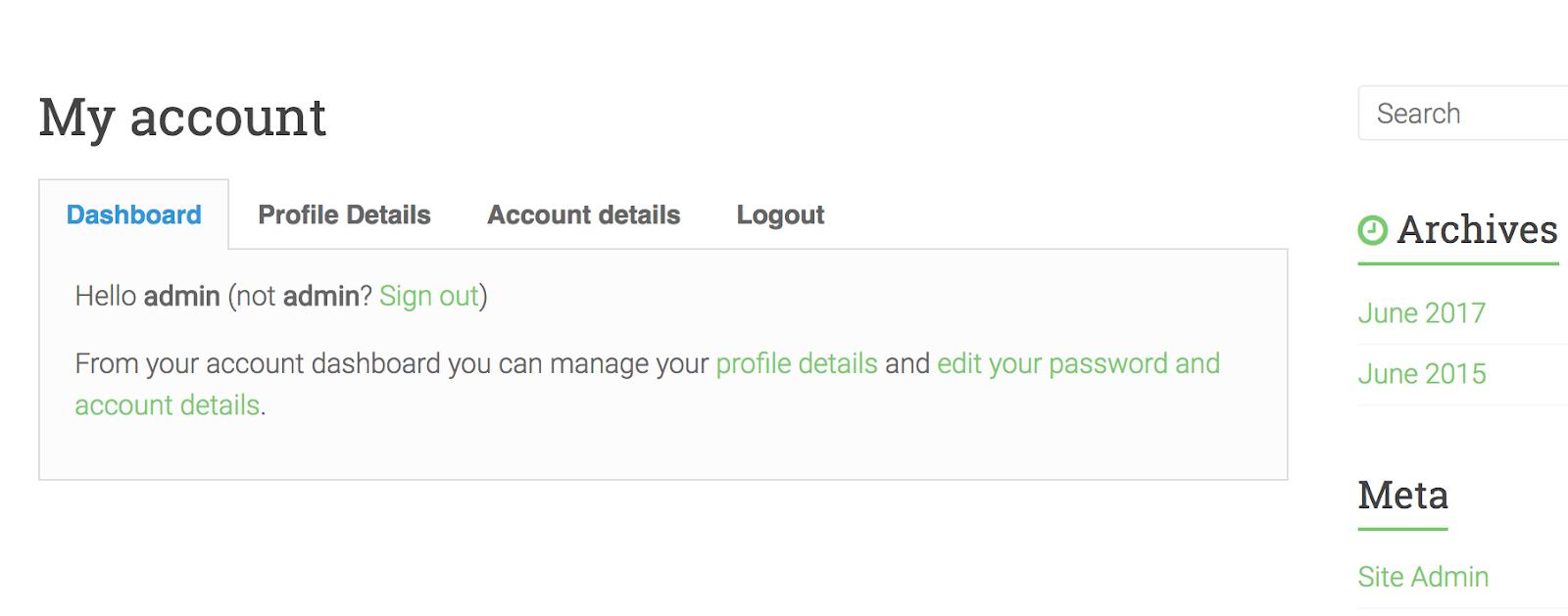 User Registration's sample user profile page
