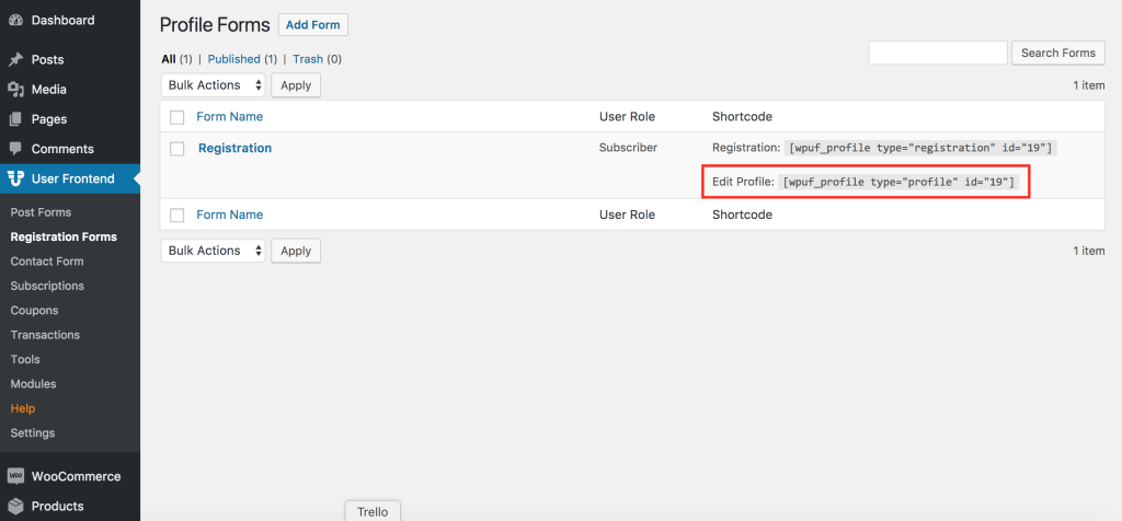 WP User Frontend plugin's shortcodes