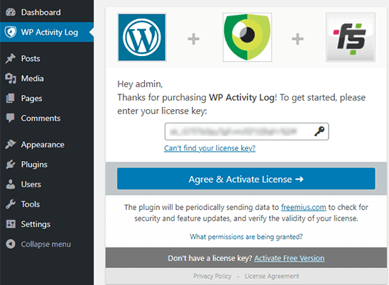 agree & activate license key
