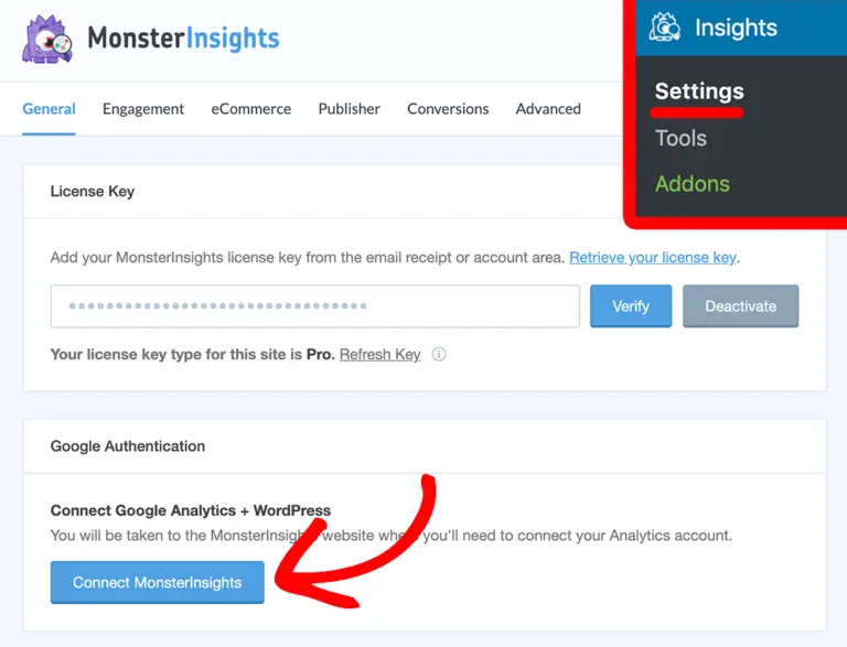 PPWP Pro: Connect MonsterInsights to Google Analytics