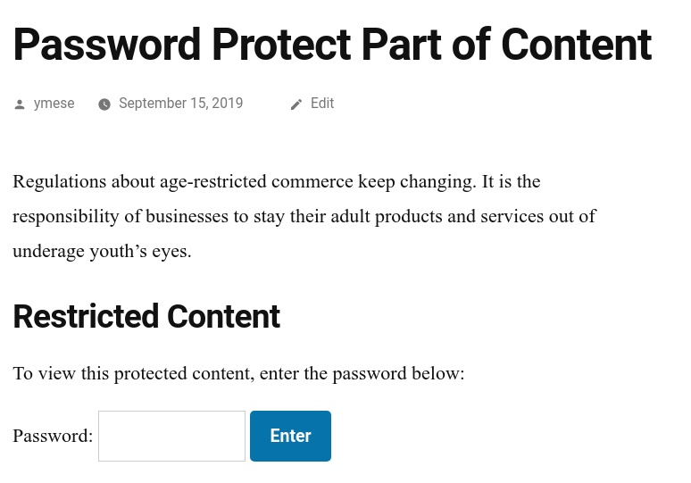 PPWP Pro: Partial password form