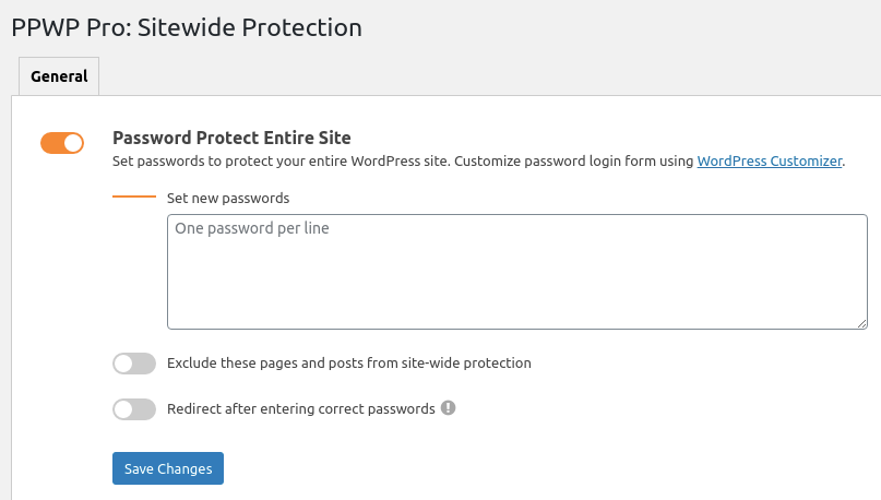 PPWP Pro: Password protect entire site