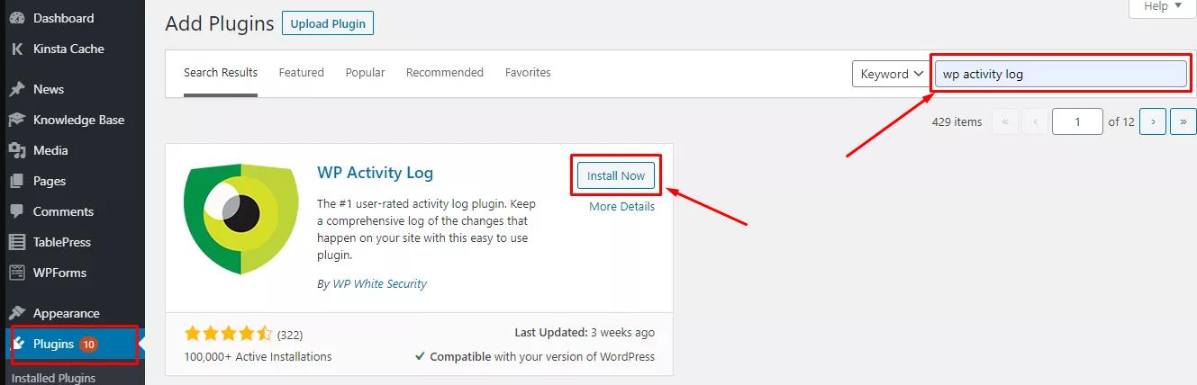 Install WP Activity Log
