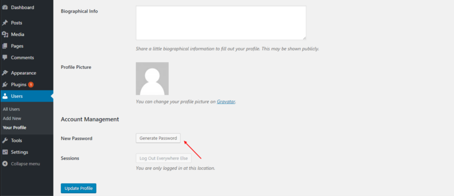 generate strong WordPress password